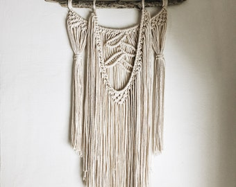 Macrame Wall Hanging on Drift Wood // Textured Fringe Wall Hanging