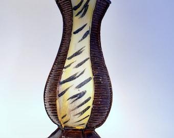 Vase Wood Wooden Home Decor Decorative Flower Vases Vintage Art Tiger Tiki Design