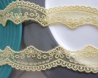 Wholesale lot  32YARDS  yellow embroidered embroidery  flower   Lace Trim DIY Sewing collar dress hair accessory 2.5cm 1inch