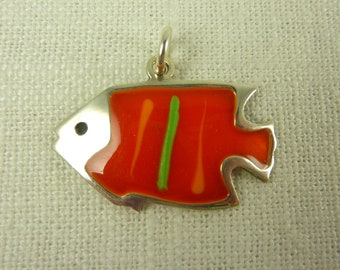 Vintage Sterling and Enamel Fish Charm