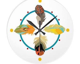 Clock Four Feathers Round Tsalagi Cherokee Designed