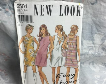 New Look 6501, Misses, plus,  Easy to sew, mod go-go Dress sewing pattern Uncut Plus, Sizes 8-18