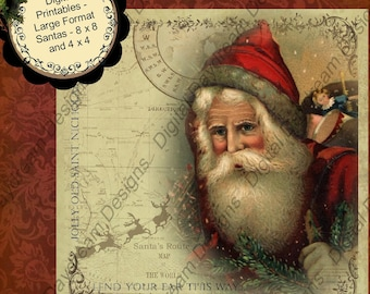 INSTANT Digital Download Printable Christmas 8 x 8 4 x 4 Collage Sheets  Old World Santas  Holiday Frameable For Coasters
