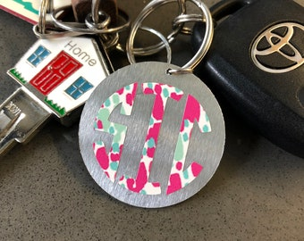 Monogram Keychain- Lilly Pulitzer style/ sold color