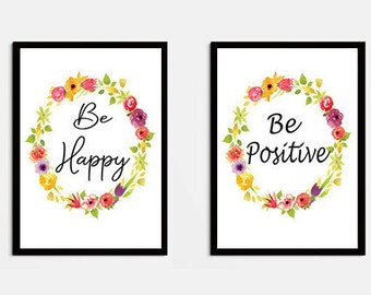 Set of 2 Prints, Printable Arts, Be Positive, Be Happy, Wall Art Prints,Wall Deco, Instant Download