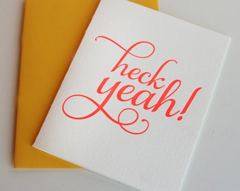 Letterpress Congratulations - Graduation - Celebration card - Heck Yeah!