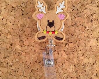 Christmas Badge Reel, REINDEER Badge Reel, ID Badge Reel,  Retractable Name Holder, Nurse, Teachers, Office Workers, Peeking  950