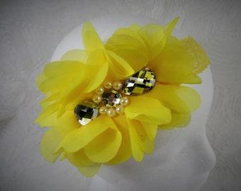 Yellow Headband, Baby Girl Headband, Baby Flower Headband, Newborn Headband, Baby Girl, Little Girl Headband, Flower Headband, Chiffon