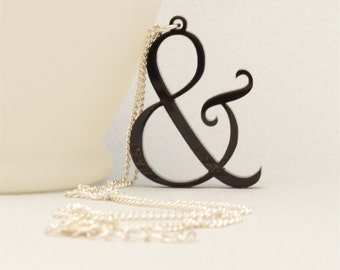 FREE SHIPPING Laser Cut Ampersand Necklace, Literary Jewelry, Reader Gift, Quirky Necklace, Handmade Gift under 20, Personalized Jewelry