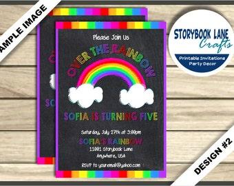 Chalkboard Rainbow Invitation, Rainbow Birthday invitation, Over the Rainbow Invite - Birthday Party Printable, Painting Art Girl 2 Designs