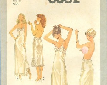 1978 Misses' Full Slip and Half Slip in Two Lengths with Lace Trim Uncut Factory Fold Size 10 - Simplicity Sewing Pattern 8862