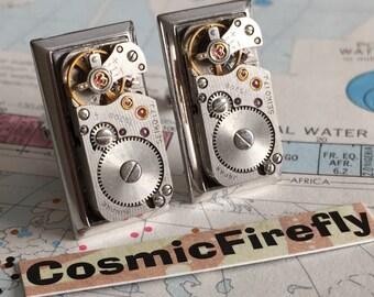 Men's Steampunk Cufflinks Upcycled SWANK Cufflinks & Vintage SEIKO Japan Watch Movements Men's Cufflinks Men's Gifts