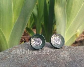 Deep Forest Green Vintage Button Earring Set