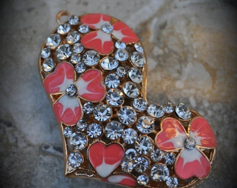 Gold Plated Heart Pendant With Crystals And Enamel