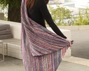 "Hand knit handmade blanket / beach throw in multicolor pink or orange (75% wool) - 45x45"" (115x115cm)"