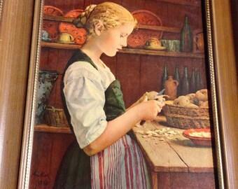 Vintage turner wall art  girl peeling potatoes