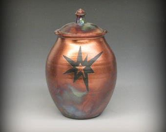 Raku Urn or Lidded Vase with Star Design in Metallic Copper