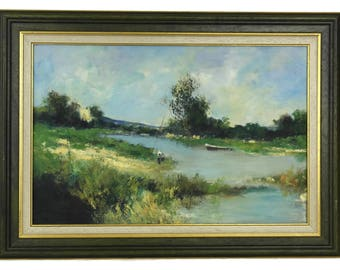 French Country Landscape Oil Painting with River and Fishermen. Vintage Original Framed Art.