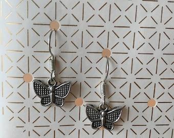 Earrings Butterfly silver - handmade
