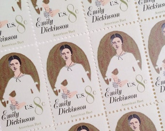 Set of 10 Emily Dickinson 8c unused postage stamp from 1971