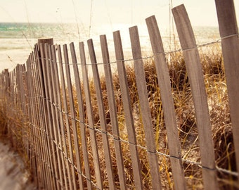 beach decor, landscape print, cottage art, beach house decor, beach photograph,  living room bathroom wall art  oceanview with beach fencing