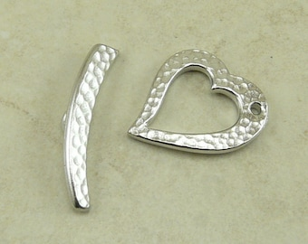 1 TierraCast Hammered Hammertone Heart Toggle Clasp Set - Rhodium Plated LEAD FREE Pewter - I ship Internationally 6124