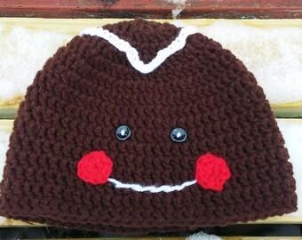 Crocheted Gingerbread Man Hat