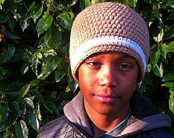 Striped Beanie in light brown with white stripe - Unisex - Small, medium or large