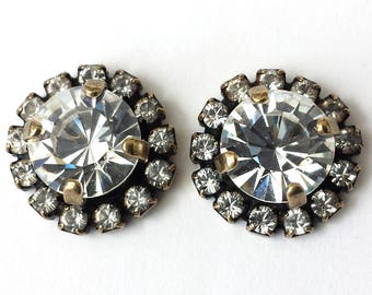 Swarovski Crystal Stud Earrings Crystal Rhinestone Earrings Bridesmaid Jewelry Swarovski Crystal Post Earrings Antique Brass Prom Jewelry