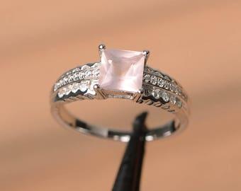 wedding ring natural pink quartz ring princess cut gems pink gemstone sterling silver ring