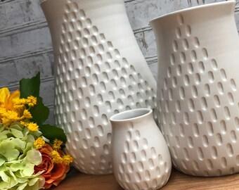 Large A line pottery vase. made to order. white pottery vase. wheel thrown pottery vase. modern pottery vase. ceramic vase. minimalist vase