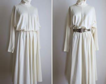 vintage cream flared dress S/M ~ 80s dolman sleeve dress
