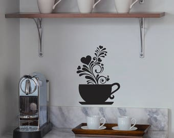Free Shipping! Coffee Cup Wall Decal Art Sticker Decor - Kitchen Home Decor