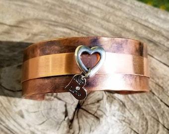 Silver Open Heart Copper Cuff