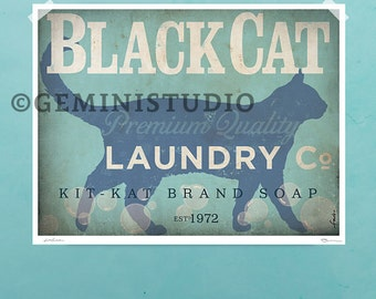 Black Cat laundry company laundry room illustration signed artists print by stephen fowler