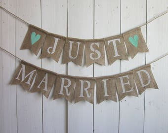 Just Married Banner - Just Married Bunting - Just Married Garland - Wedding Married Sign - Rustic Burlap Wedding Married Decoration