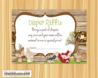 Woodland Creatures Diaper Raffle Card | Woodland Creatures Baby Shower | Diaper Raffle Card | Instant Download