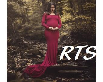 Ready to Ship Maternity Gown-Long Maternity Dress-Fitted Maternity Gown-Long Sleeves Maternity Dress-Skinny Maternity Dress-ANNABELLA-RTS