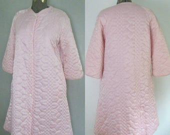 Pink Satin Quilted Robe Vintage Barbizon Lounge Wear