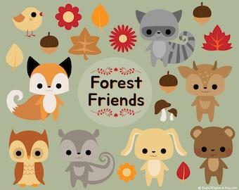 Forest Friends - Woodland Creatures - Vector Graphics - Clip Art