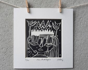 lino print, square print, miniature art, art, black ink, black print, portrait, girl, girl print, bird print, bird eyes, bird eyed girl