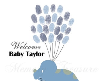 Baby Shower Guest Book Alternative Dino Baby Shower Dino Thumb print Guestbook Dinosaur Finger print Guestbook Dino Baby Shower Thumb print