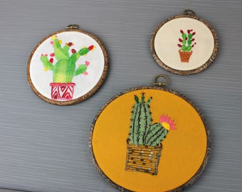Cactus embroidery hoops set of 3