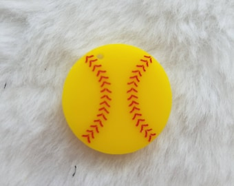 Acrylic Softball Pendants - Laser Cut and Engraved - Package of 20