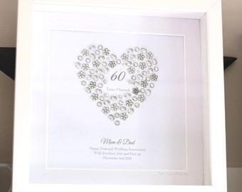Framed Personalised Diamond Wedding Anniversary Keepsake Artwork - 60th (filled heart)