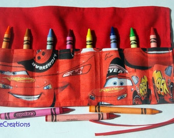 Crayon Roll Up Crayon Holder Cars - Holds 8 Crayons