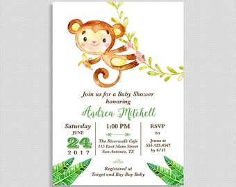 Monkey Baby Shower Invitation, Jungle Baby Shower Invite, Watercolor, Green, Unisex, Neutral, DIY PRINTABLE