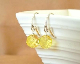 Baltic Amber Ball Earrings Yellow Lemon Faceted 12 mm 925 silver