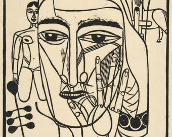 20th Century Expressionism: Large Head with Outpread Hand, 1922 by Henrich Campendonk Print Reproduction. Fine Art Print.