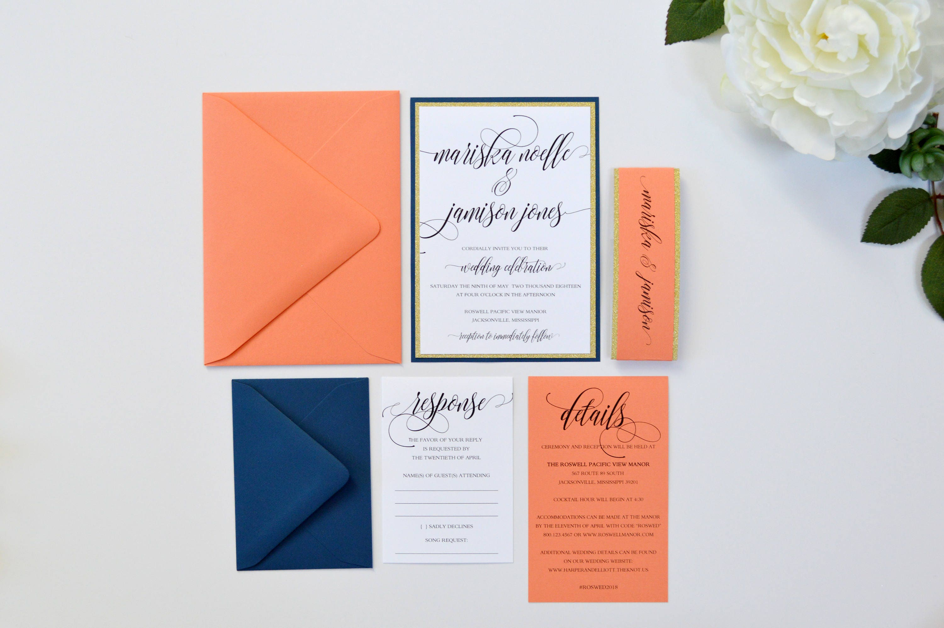 Blue And Coral Wedding Invitations: Navy Wedding Invitations Coral Wedding Invitation Navy Blue